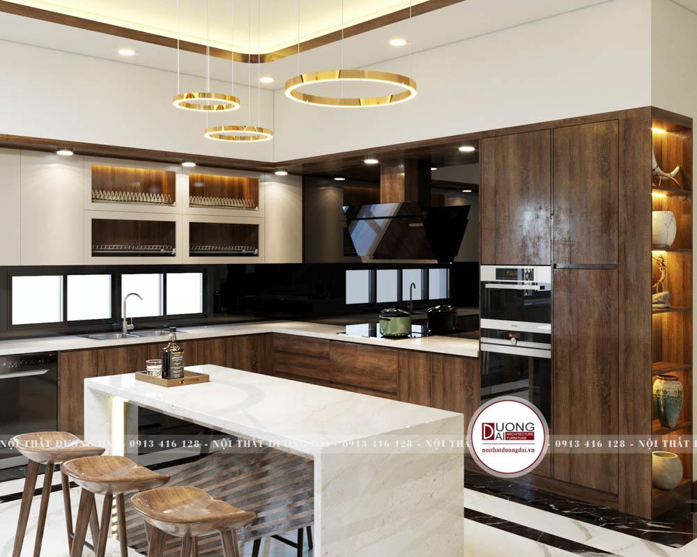 Quầy bar kết hợp đảo bếp bằng đá sang trọng cho không gian bếp