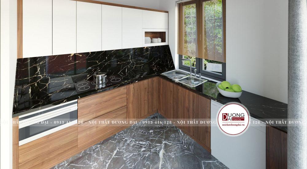 Tủ bếp chữ L siêu hiện đại và tiện nghi từ chất liệu gỗ công nghiệp