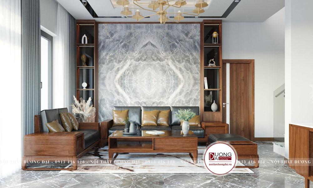Sofa phòng khách gỗ tự nhiên với kiểu dáng thượng lưu và đầy uy nghi