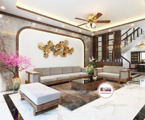 Thiết kế không gian phòng khách siêu đẳng cấp với bộ sofa gỗ hiện đại