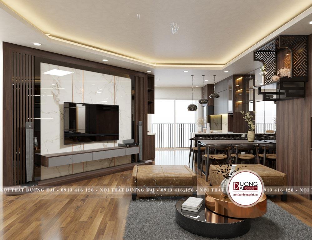 Thiết kế phòng khách sang trọng với cách bài trí hiện đại