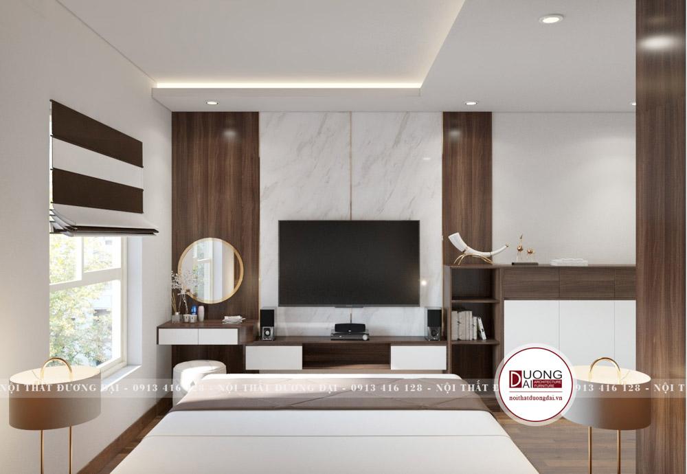 Kệ tivi và bàn phấn treo tường tiết kiệm diện tích và mang nét đẹp hiện đại