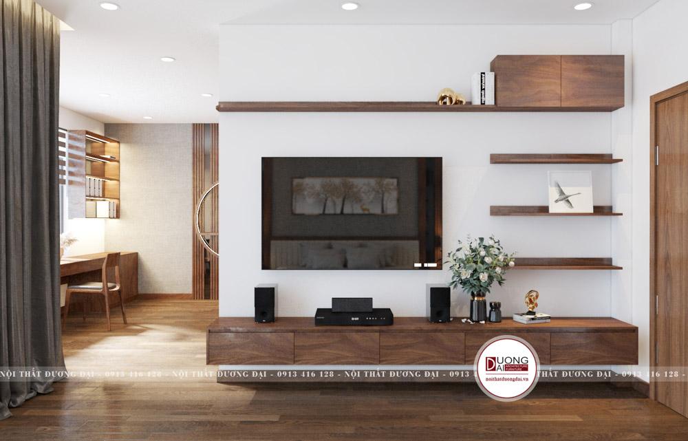Kệ tivi treo tường độc đáo với giá trang trí nhỏ xinh