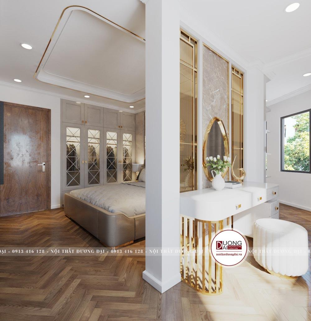 Phòng ngủ chia thành 2 không gian, có phòng thay đồ riêng