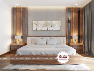 Không gian nghỉ ngơi của gia chủ với chiếc giường lớn bằng gỗ tự nhiên