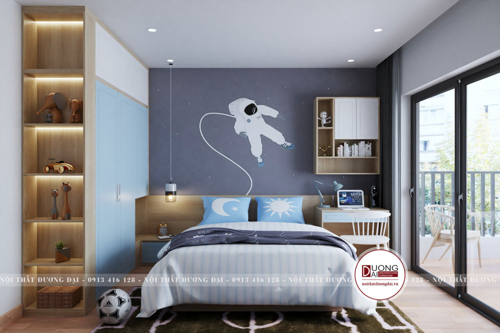 Gam màu xanh dương mang đến nét tinh nghịch cho phòng ngủ