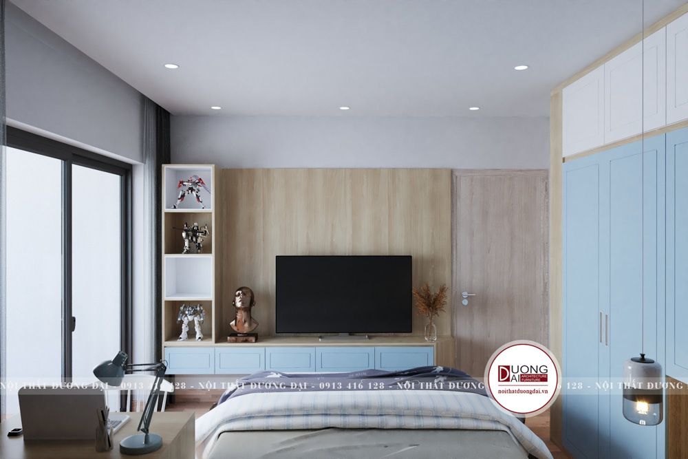 Thiết kế phòng ngủ tiện nghi với góc học tập và giá sách treo tường
