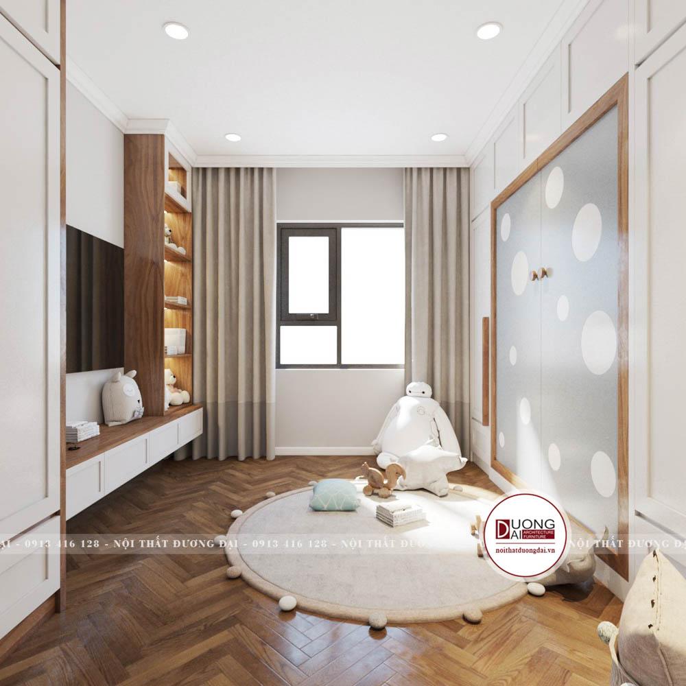Phòng ngủ có không gian cho bé vui chơi rộng rãi