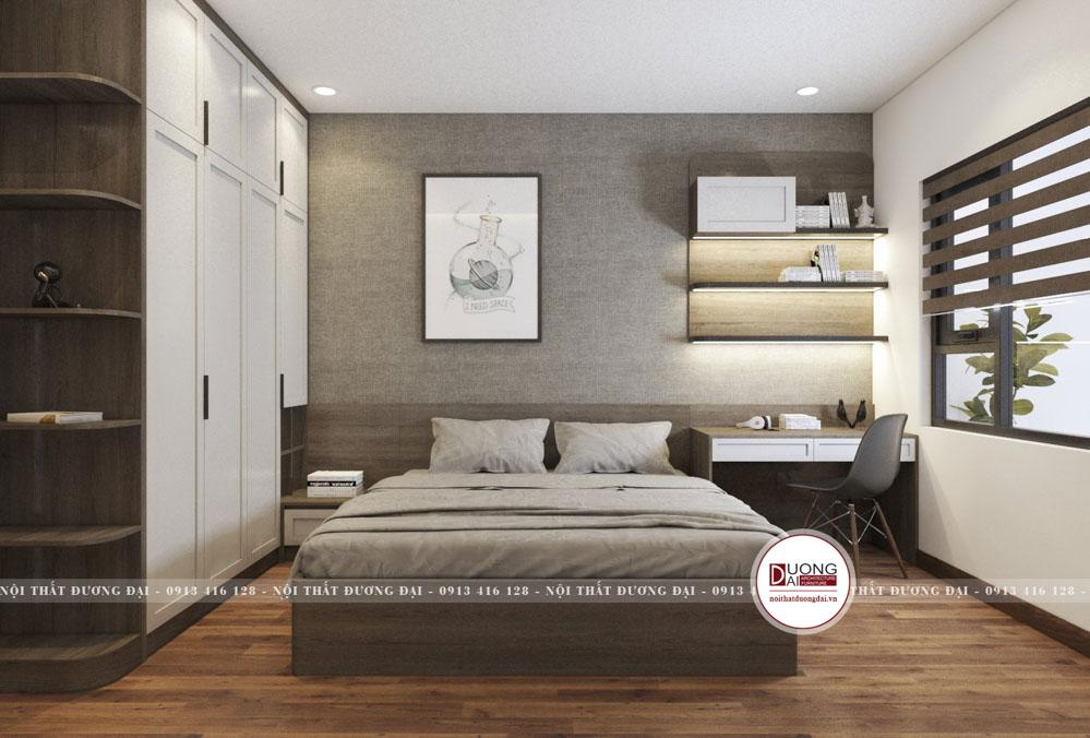 Phòng ngủ cho khách được bài trí đơn giản với bàn làm việc nhỏ