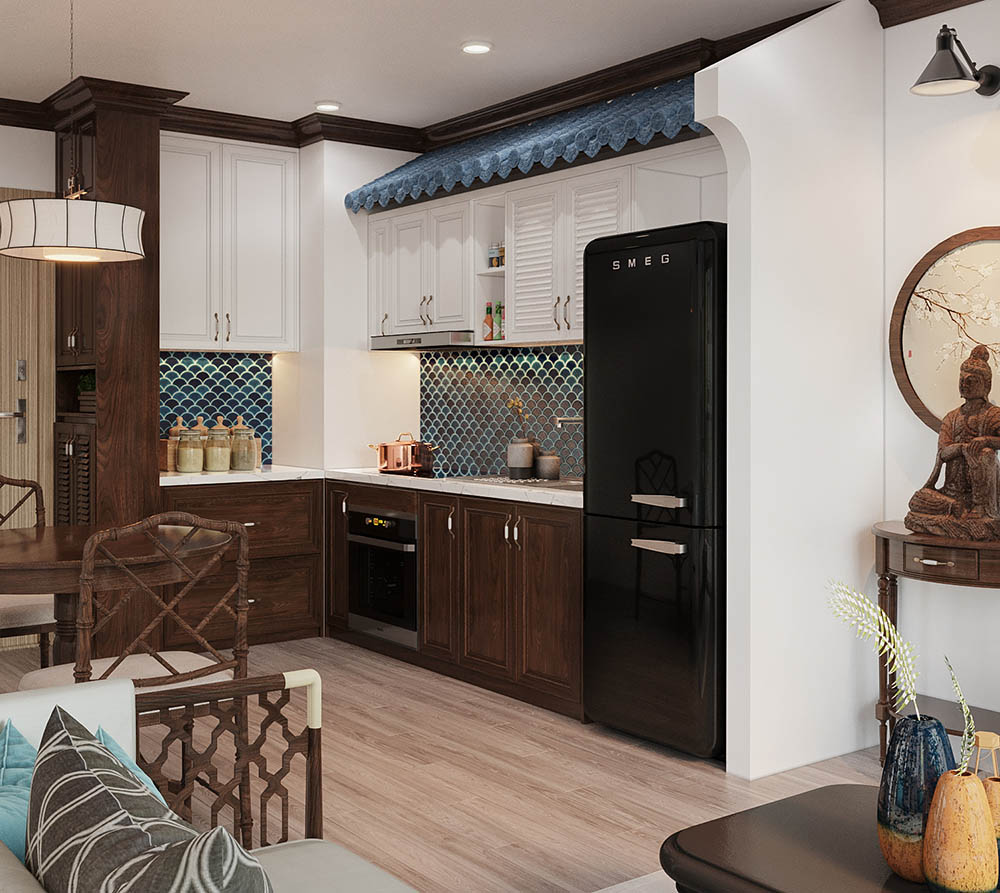 Tủ bếp trong chung cư nhỏ với kiểu dáng chữ L cùng hoa văn truyền thống