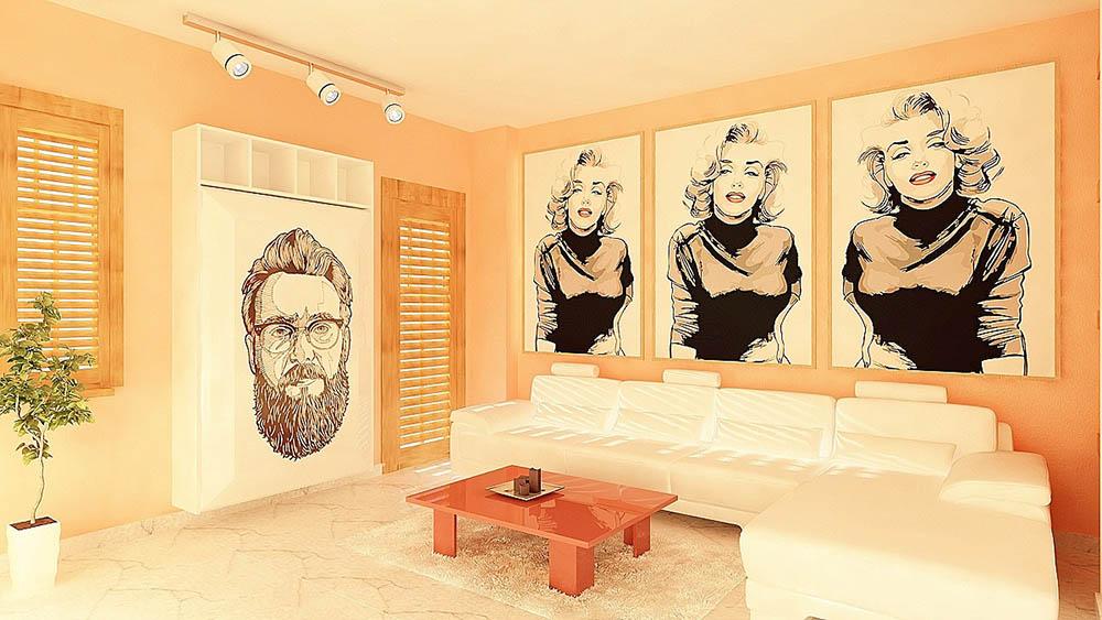 Sự độc đáo và sáng tạo với gam màu vàng thể hiện trong phòng khách