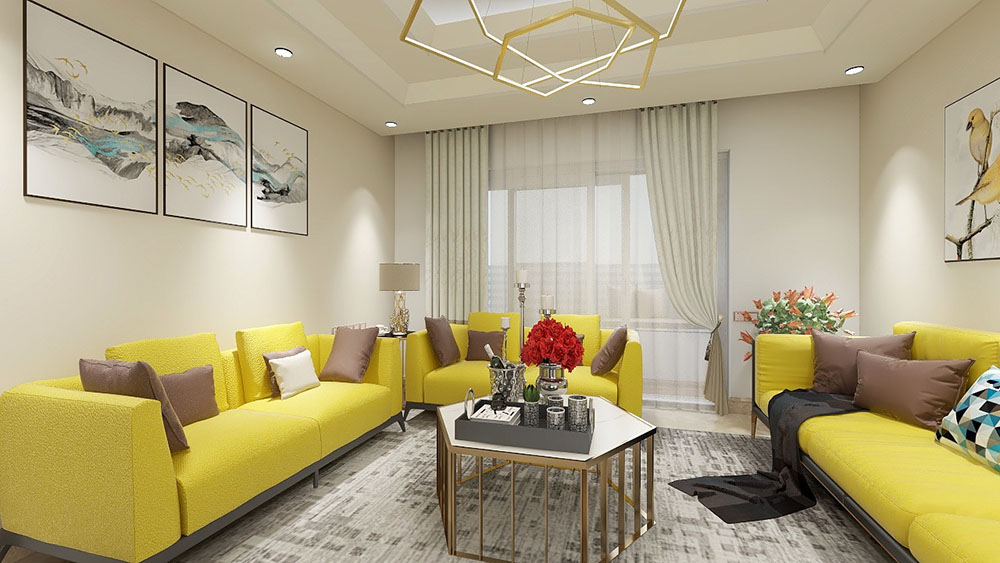 Sơn tường vàng nhạt và sofa màu vàng tươi độc đáo đẹp mắt