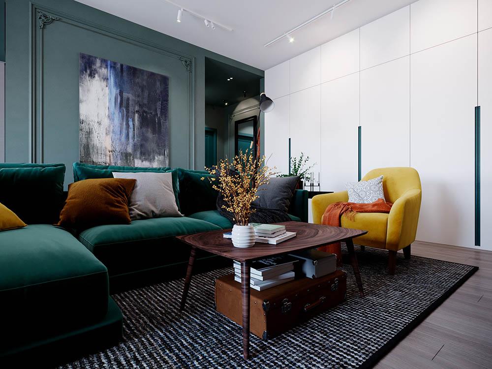 Phòng khách tân cổ điển nguy nga với gam màu xanh rêu