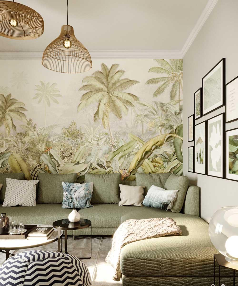 Thiết kế bức tường vẽ cây lá siêu mát mẻ và độc đáo