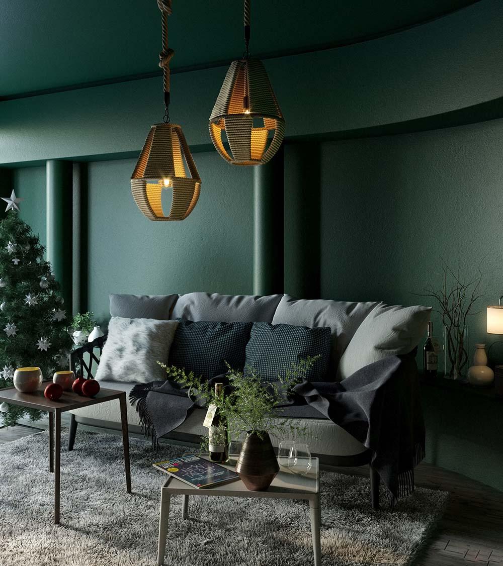 Thiết kế màu xanh rêu trên bức tường tôn lên nét sang trọng