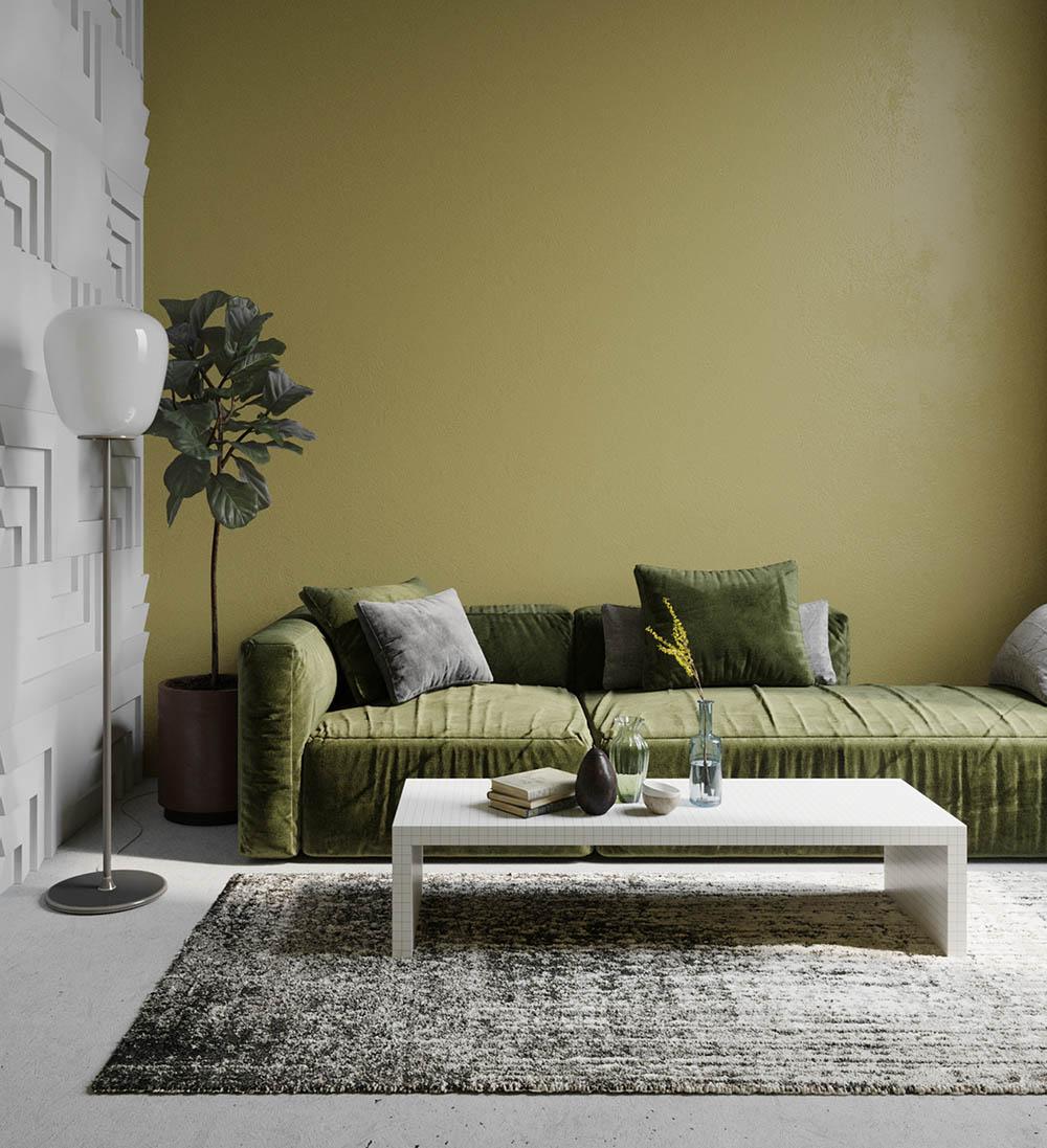 Thiết kế phòng khách sơn bức tường màu xanh đẹp mắt