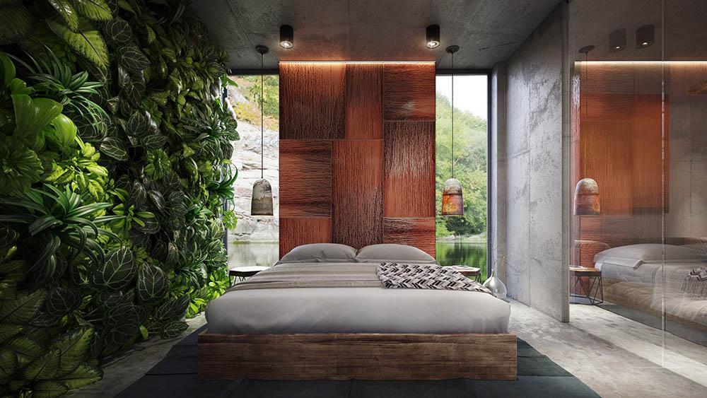 Bức tường cây xanh mát tạo điểm nhấn cho phòng ngủ