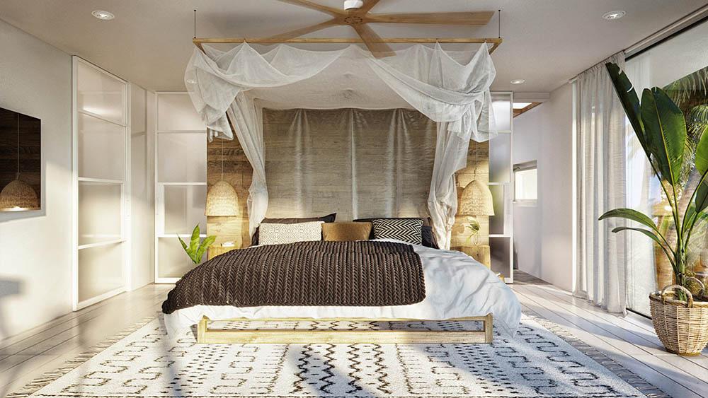 GIường ngủ được thiết kế có không gian mở mát mẻ