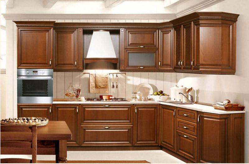 Tủ bếp đẹp với màu nâu thẫm sang trọng, tinh tế