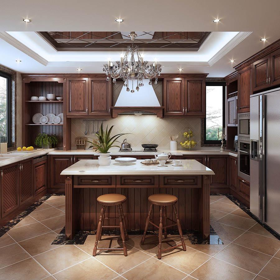 Màu gỗ nâu thẫm mang đến nét đẹp bí ẩn và đẳng cấp cho tủ bếp