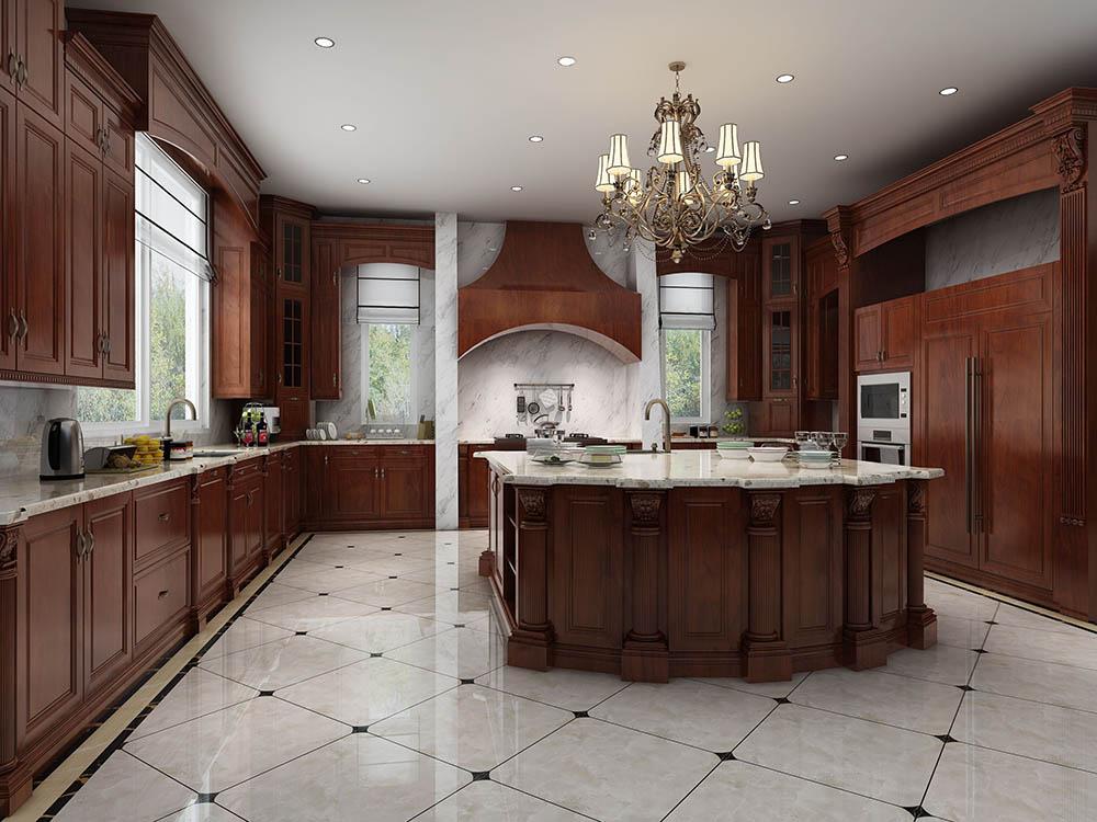 Mẫu tủ bếp chữ U cùng đảo bếp ở giữa siêu tiện nghi và sang trọng