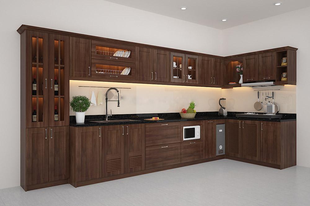 Độ bền của gỗ Lim rất cao nên tủ bếp rất chắc chắn