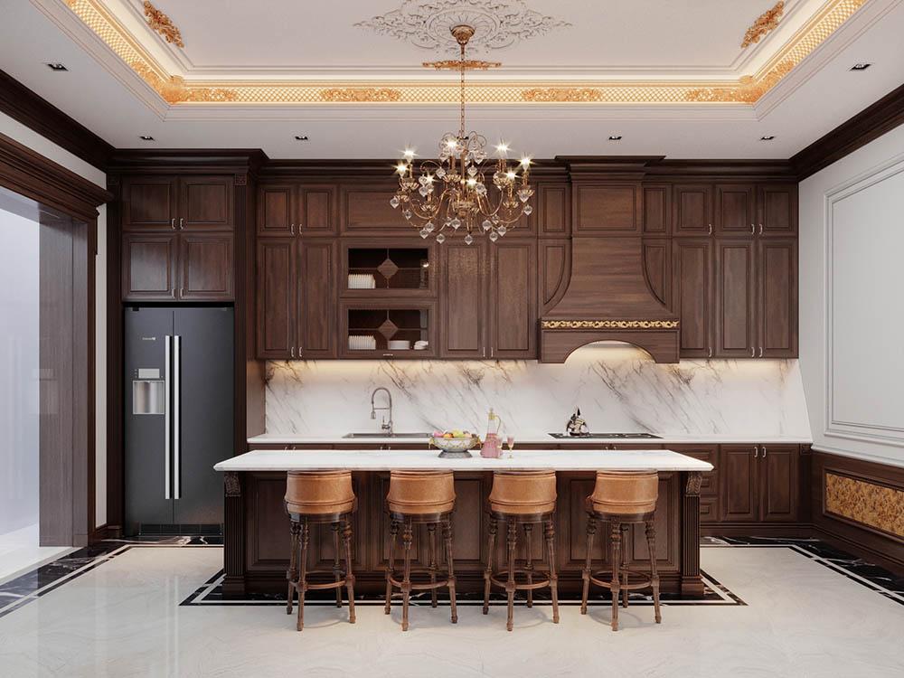 Tủ bếp kết hợp quầy bar nhỏ với phong cách tân cổ điển