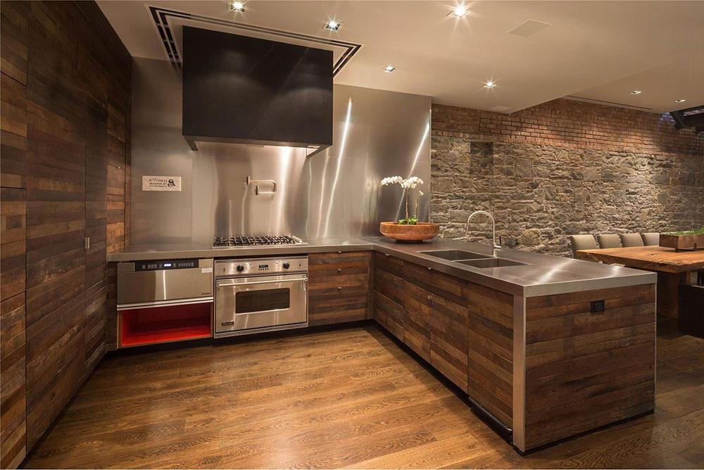 Tủ bếp có kiểu dáng trang nhã, sang trọng với màu nâu ấm áp