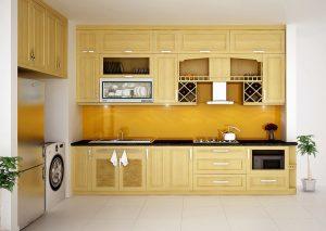 Tủ bếp làm từ loại gỗ trắng có độ bền cao và đẹp mắt