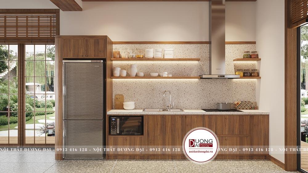 Tủ bếp gỗ tự nhiên kiểu dáng chữ I nhỏ gọn nhưng tiện nghi