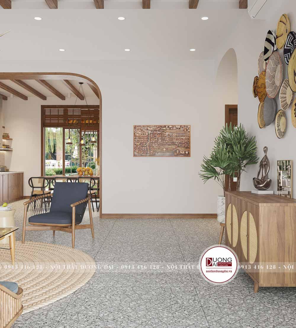 Không gian phòng khách với gam màu trắng và nâu nhạt