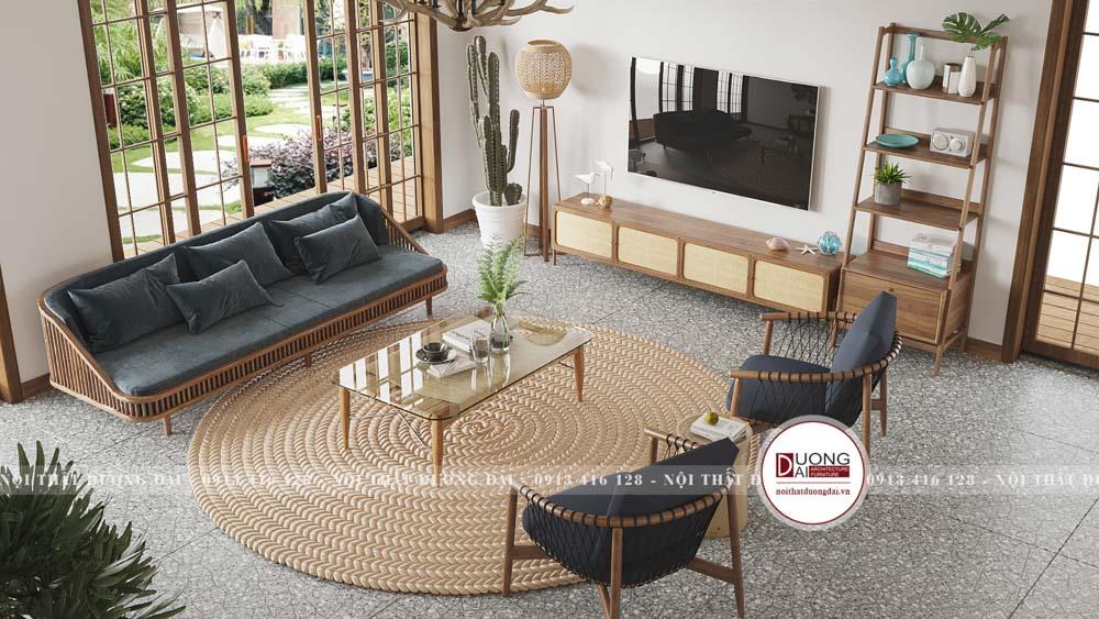 Không gian phòng khách tinh tế với nội thất gỗ tự nhiên