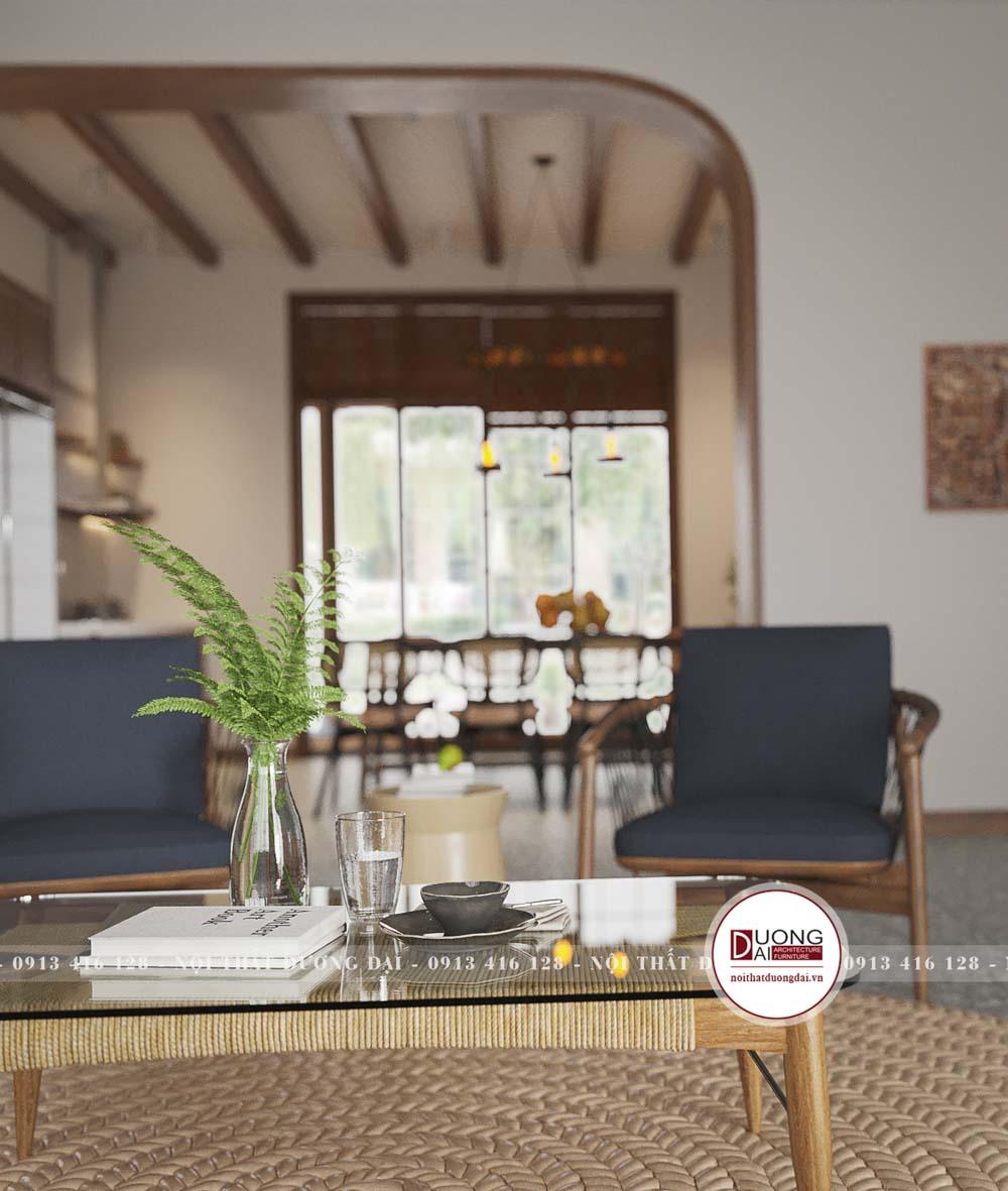 Bàn trà và ghế bành đơn giản tinh tế và thanh thoát