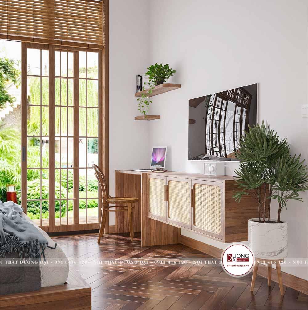 Kệ tivi kết hợp bàn làm việc làm từ gỗ kết hợp mây