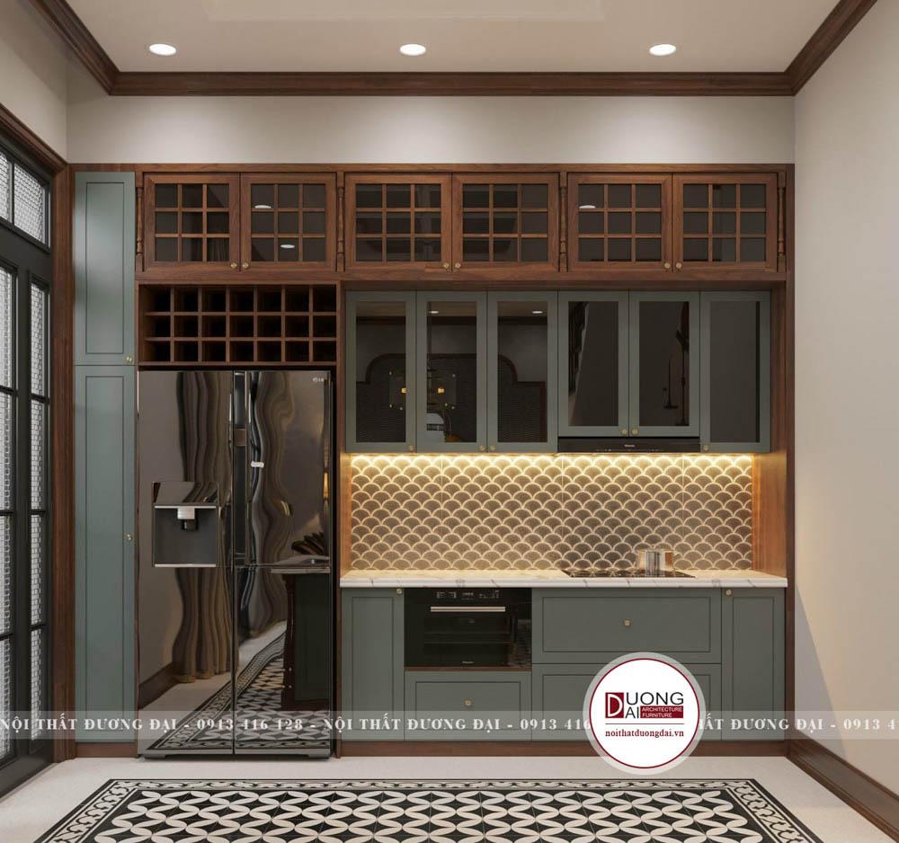 Tủ bếp tân cổ điển với nét đẹp quyền quý, cao sang
