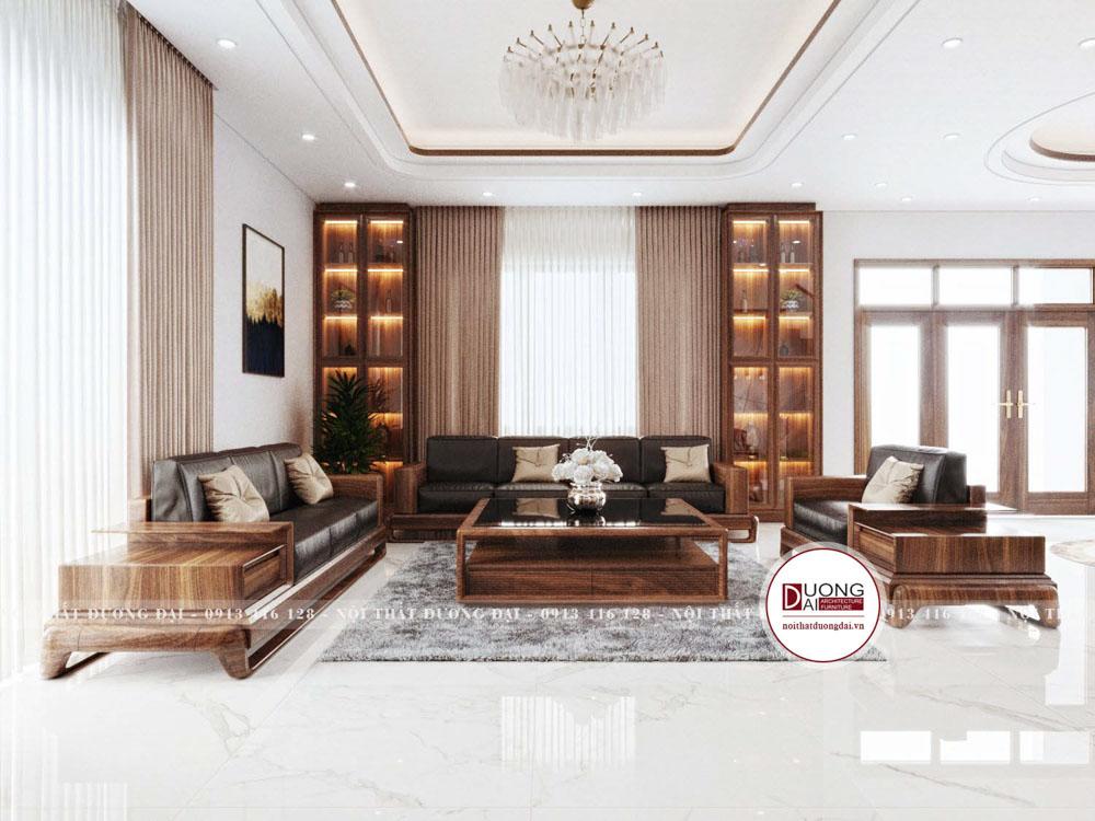 Nội thất phòng khách gây ấn tượng với chất liệu gỗ óc chó