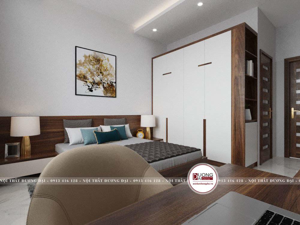Phòng ngủ sử dụng gỗ công nghiệp vào nội thất với màu trắng và nâu trầm