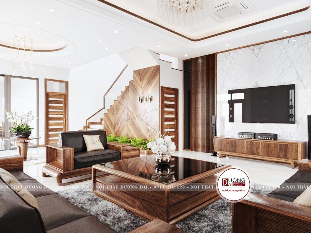 Nội thất gỗ óc chó tôn lên sự thượng lưu và đẳng cấp cho phòng khách
