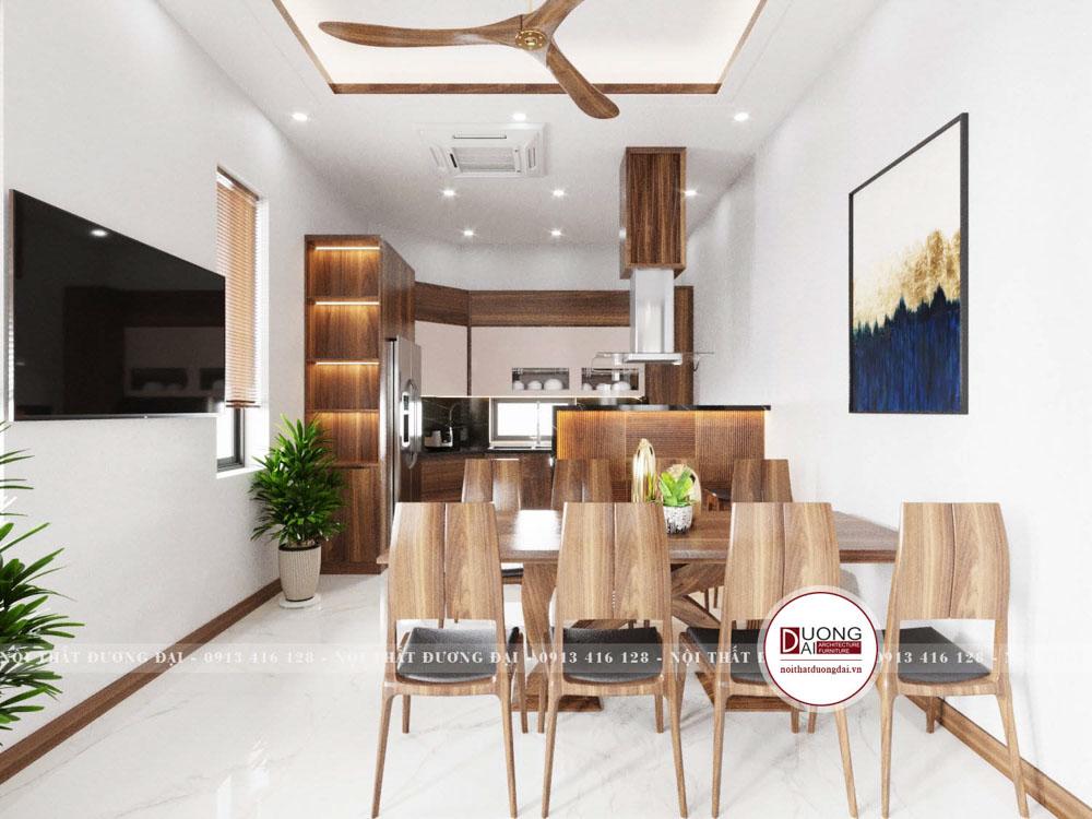 Bộ bàn ăn 8 ghế thanh mảnh với chất liệu gỗ cao cấp