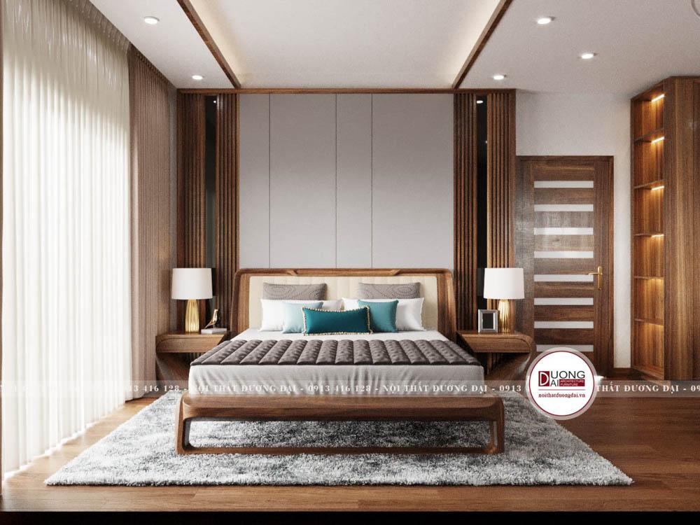Giường ngủ gỗ sang trọng với kiểu dáng hiện đại bọc da cao cấp