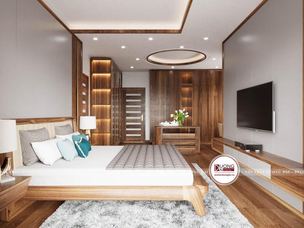 Phòng ngủ rộng được bài trí đầy tiện nghi và xa hoa