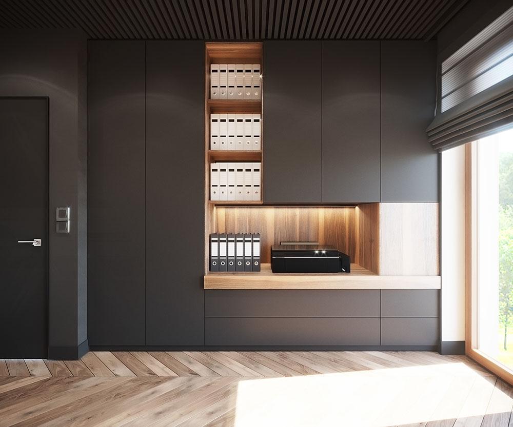 Tủ tài liệu âm tường đặt trong góc phòng giúp tối ưu diện tích