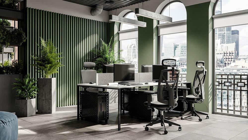 Văn phòng nên có không gian mở cùng cây xanh mát
