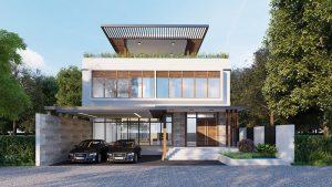 Thiết kế biệt thự hiện đại có tum đầy ấn tượng