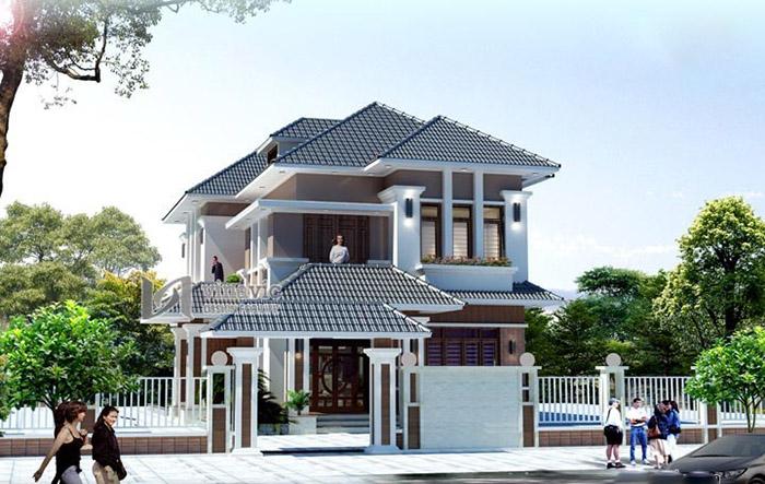 Thiết kế biệt thự có kiến trúc đẹp với mái Nhật