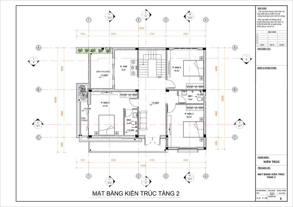 Thiết kế phòng ngủ cho tầng 2 biệt thự cao cấp