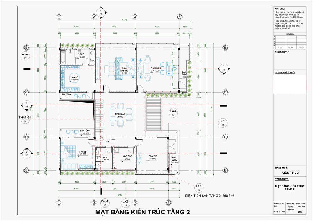 Mặt bằng công năng tầng 2 với các phòng ngủ tiện nghi