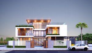 Kiến trúc siêu hiện đại với hình chữ H của biệt thự cao cấp
