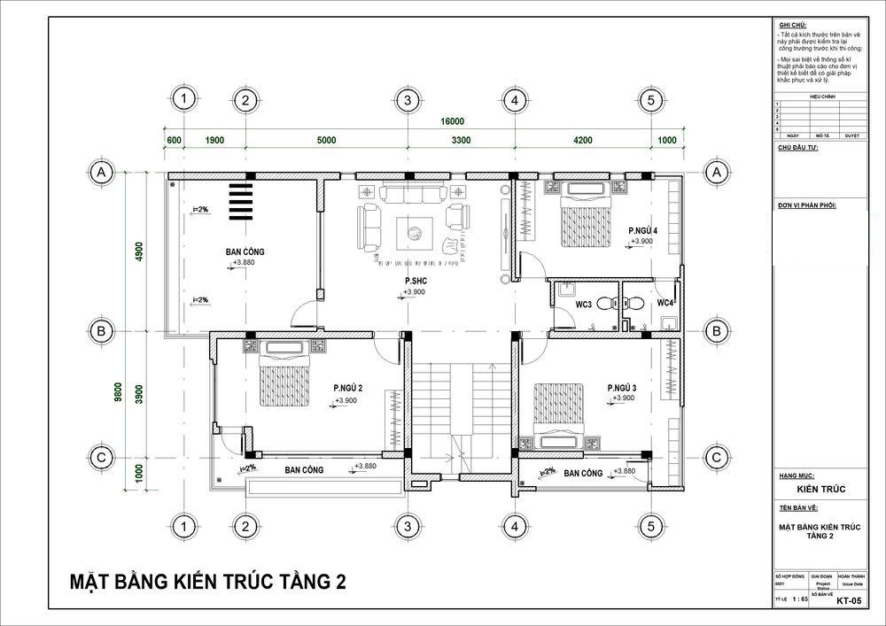 Mặt bằng công năng tầng 2 với 3 phòng ngủ cùng phòng thờ