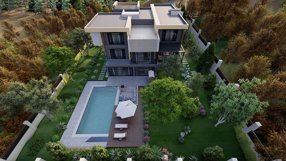 Thiết kế biệt thự vườn cao 3 tầng có bể bơi siêu tiện nghi